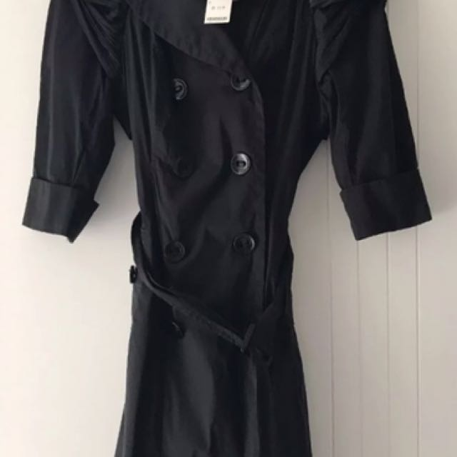 BNWT Bebe Black Trench Coat Jacket, 3/4 Sleeves, Size S (8/10)