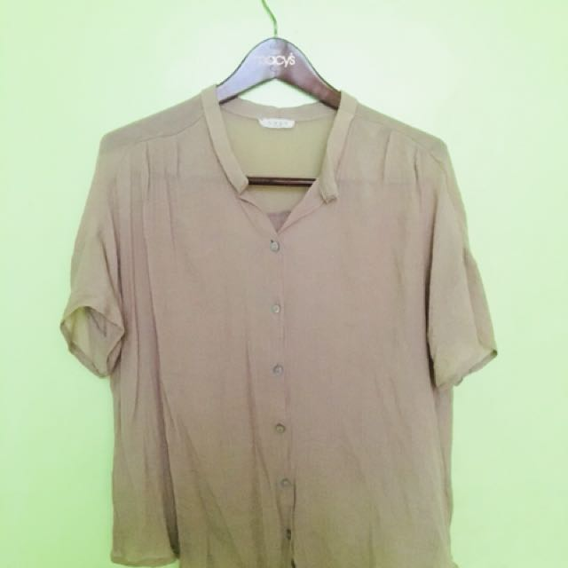 Brown Oversize Button Down