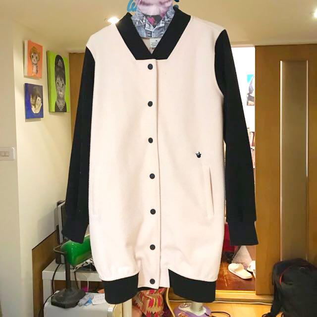 BSX潮牌栗子頭可愛圖案分紅長版棒球外套
