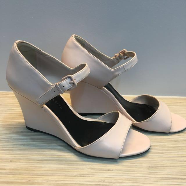 342fd7c3ae2 Charles   Keith blush pink wedge sandals