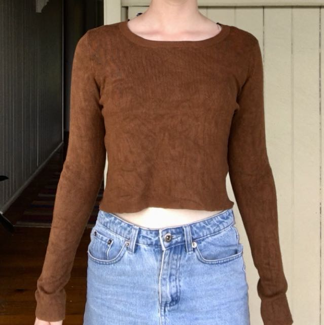 Chocolate brown cropped sweater