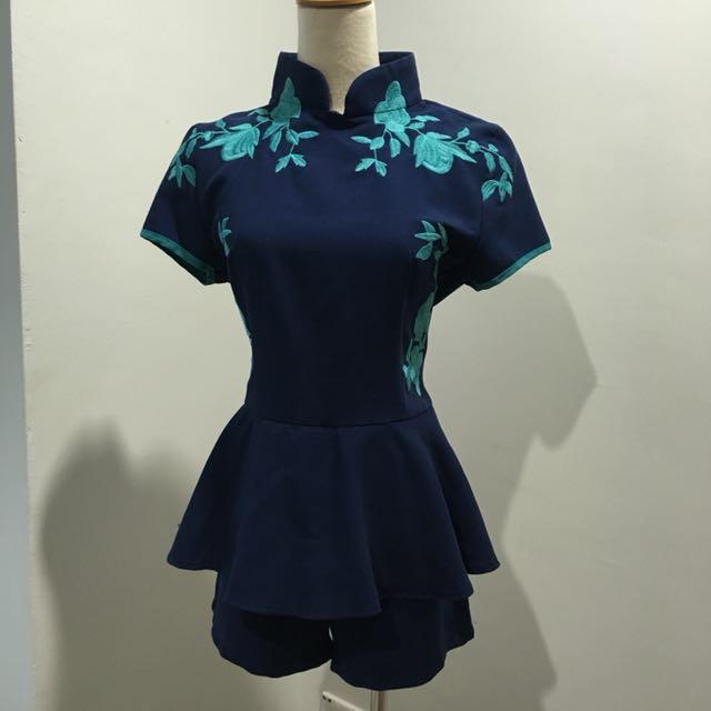 CNY oriental navy jumpsuit