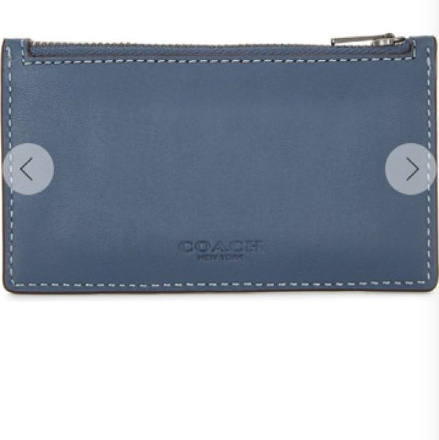 Coach zip-up leather card case