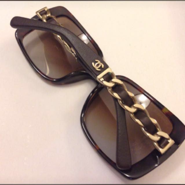 Coco Chanel gold chain sunglasses