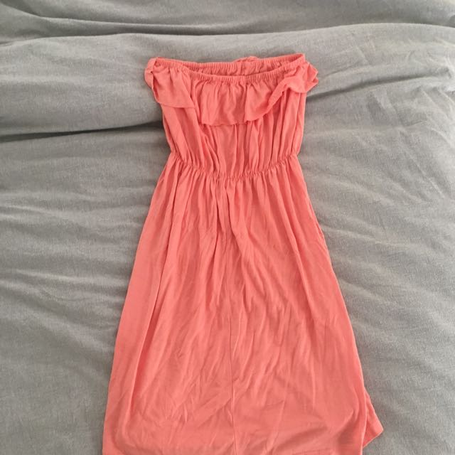 Coral strapless beach dress