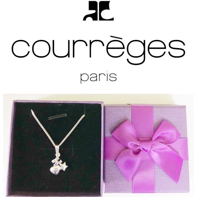 Courreges 經典logo心星純銀項鍊