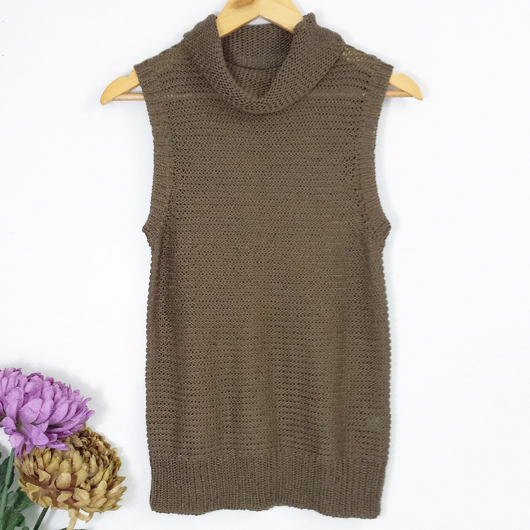 Dark Olive Green Turtle-neck Knitted Long Top Blouse