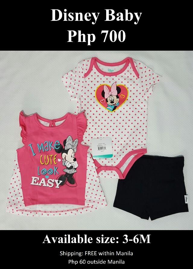 Disney Baby Girl's Minnie Mouse 3-Pack Top, Bodysuit & Short Set