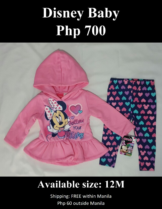 Disney Girl's Minnie Mouse 2 Piece Hooded Top & Legging Set