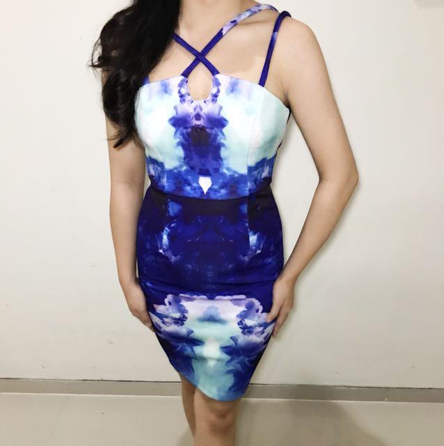 dorothy blue floral long dress