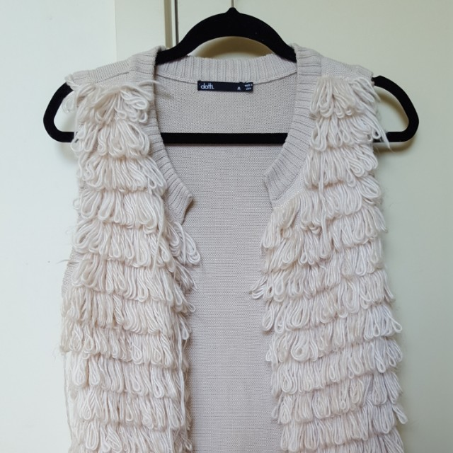 Dotti wool detail sleeveless cardigan
