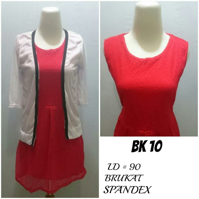 Dress + Cardigan Brukat lapis Spandex | BK 10