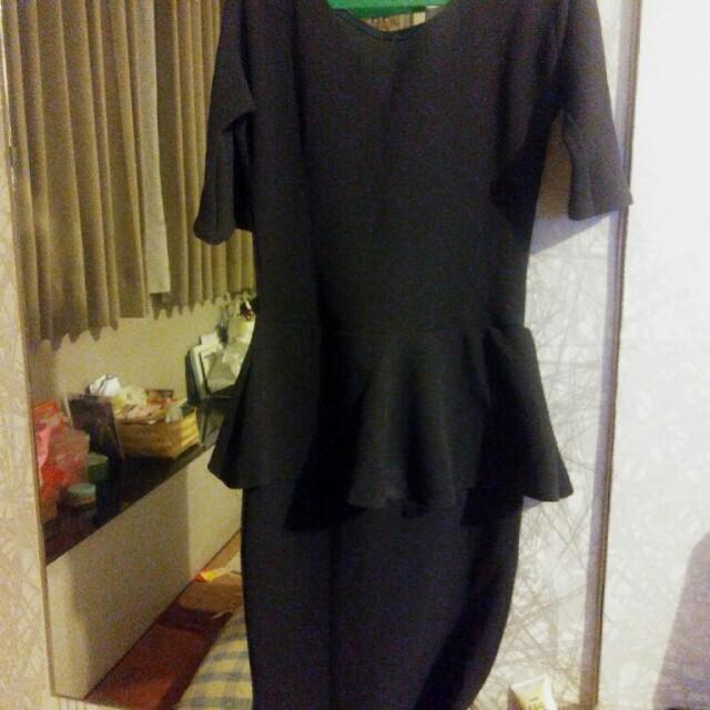 Dress peplum dark gray