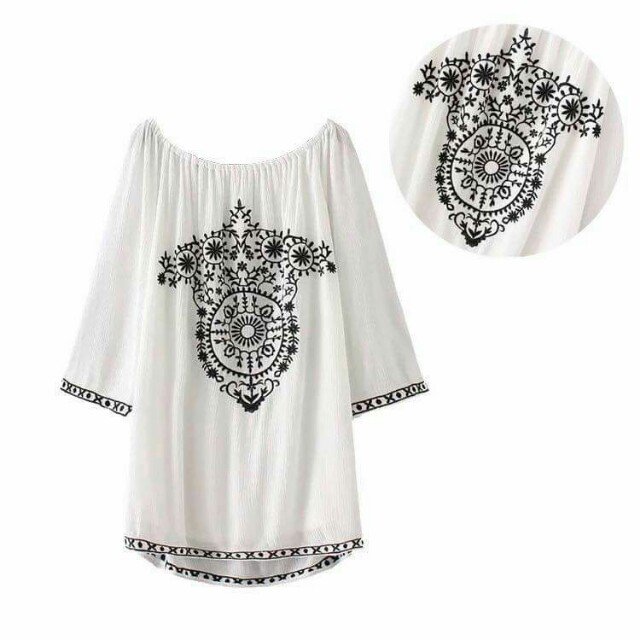 Embroidered offshoulder minidress