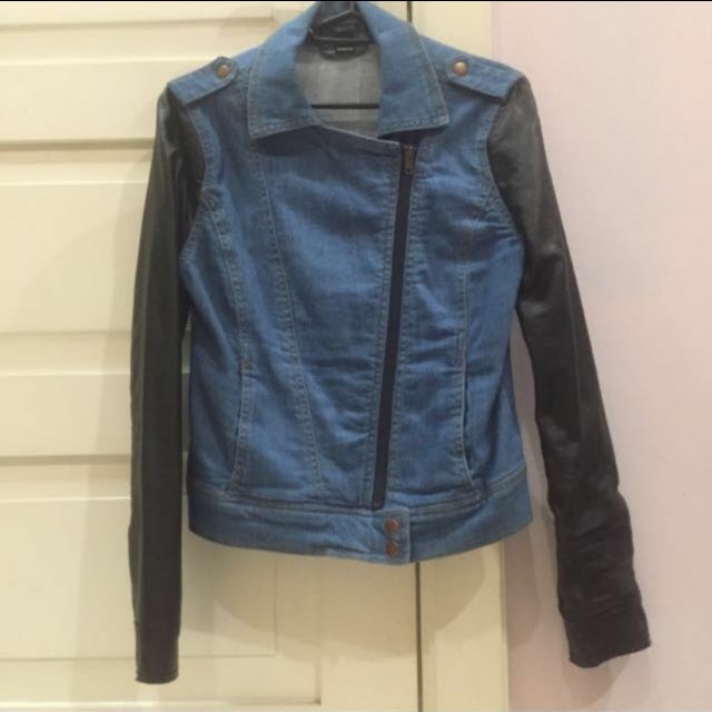 F21 denim leather jacket