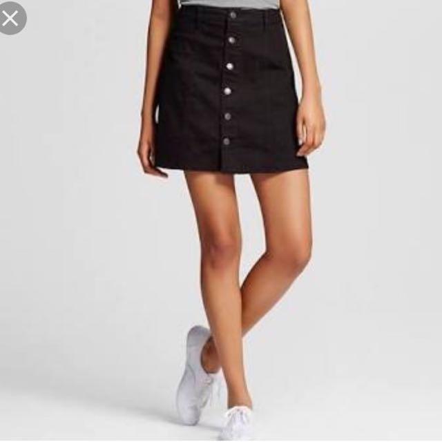 Factorie black jeans button front skirt