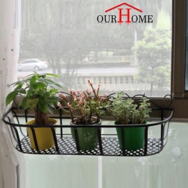 FR004 Flower Pot Rack Balcony Parapet Plant Holder, Gardening on Carousell