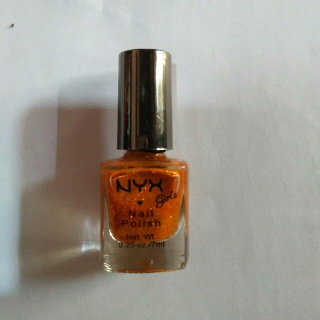 Girls Nail Polish-Orange Glitter
