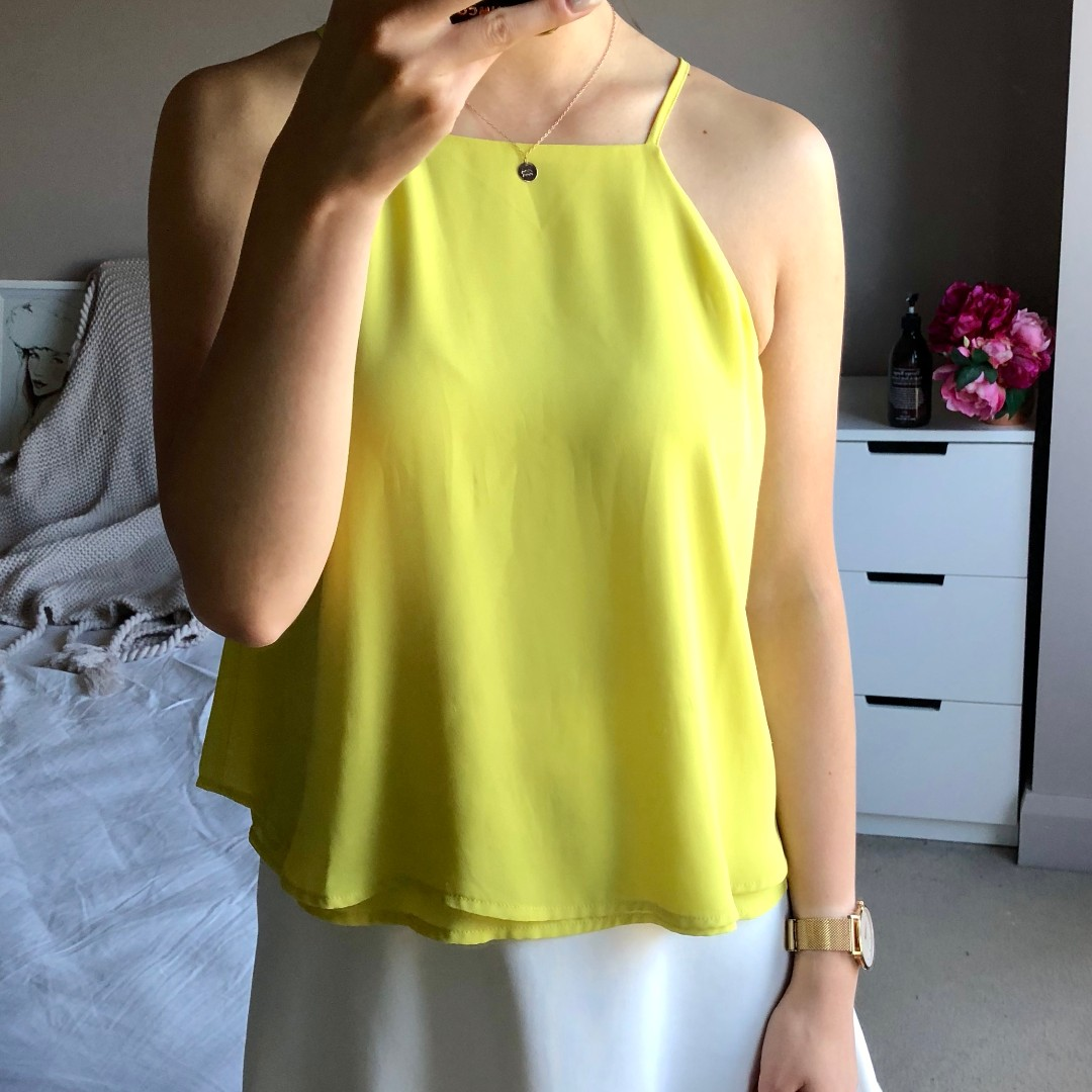 Glassons summer high neck yellow swing double layer cami top sz 8