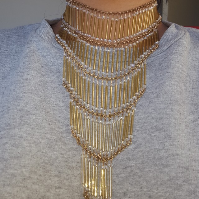 Gold Chandelier choker necklace