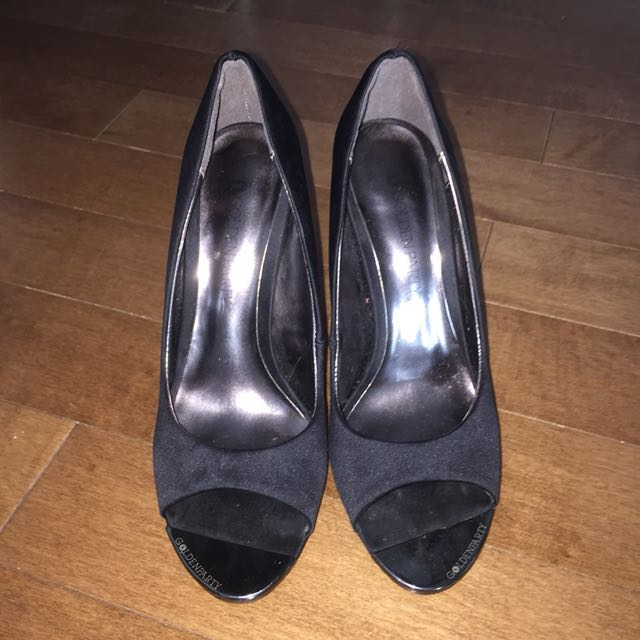 Goldenparty Black Open Toe Heels