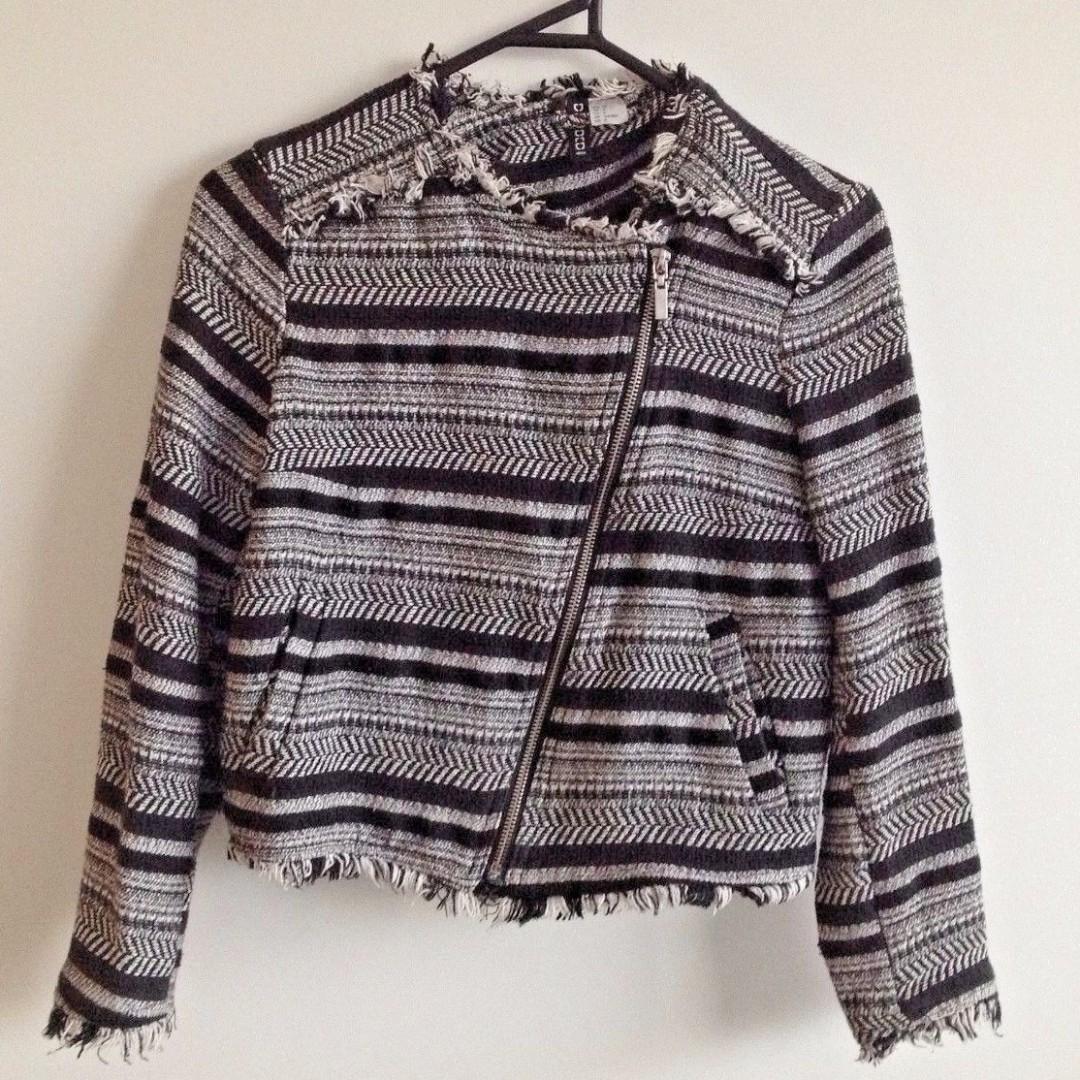 Gorgeous Black + White Knit Suit Blazer or Jacket Size 10