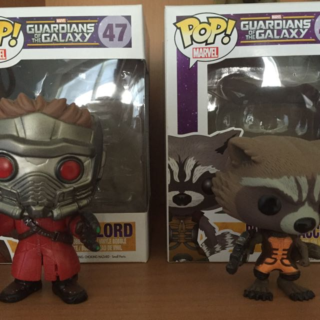 Guardians of the galaxy star lord and rocket funko pop vinyls and thor avengers marvel pops
