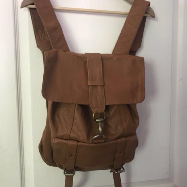 Handmade custom leather tan A4 backpack