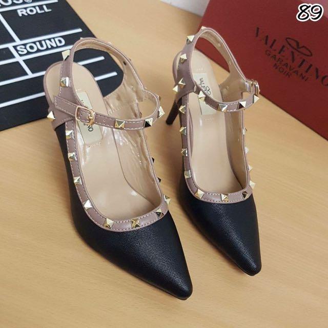 Heels Valentino Replika Murah - Sepatu High Heels Hitam Lucu - Highheels Gelang - Heels Kantor - Sepatu Heels Kerja
