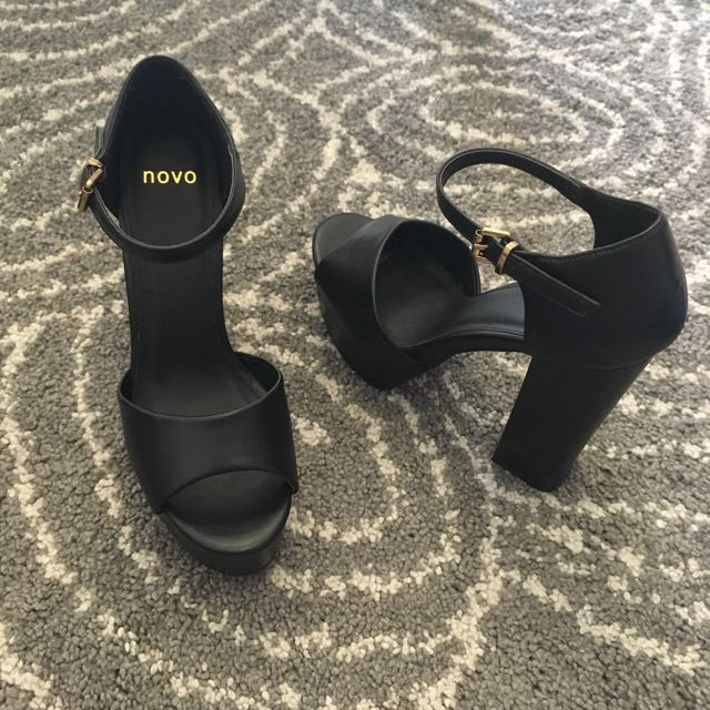 High Platform Heels with Buckle Ankle Strap