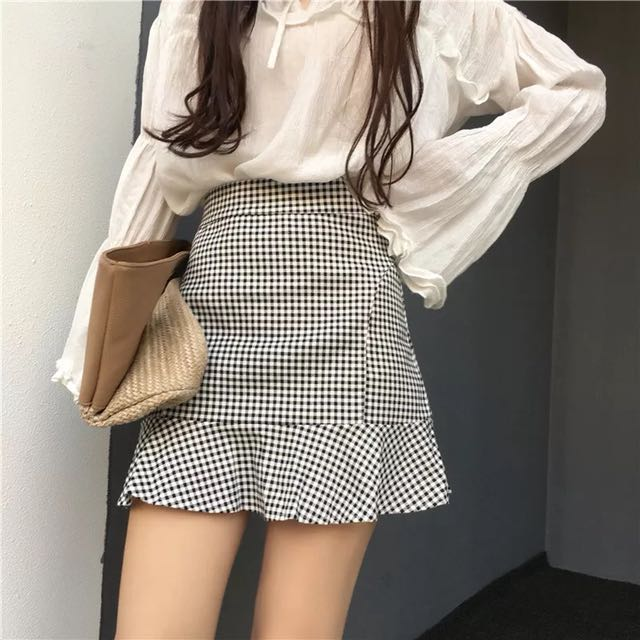 High waist fishtail checker skirt
