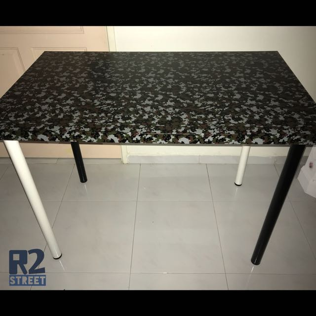 IKEA Linnmon Table Top w Camouflage Vinyl