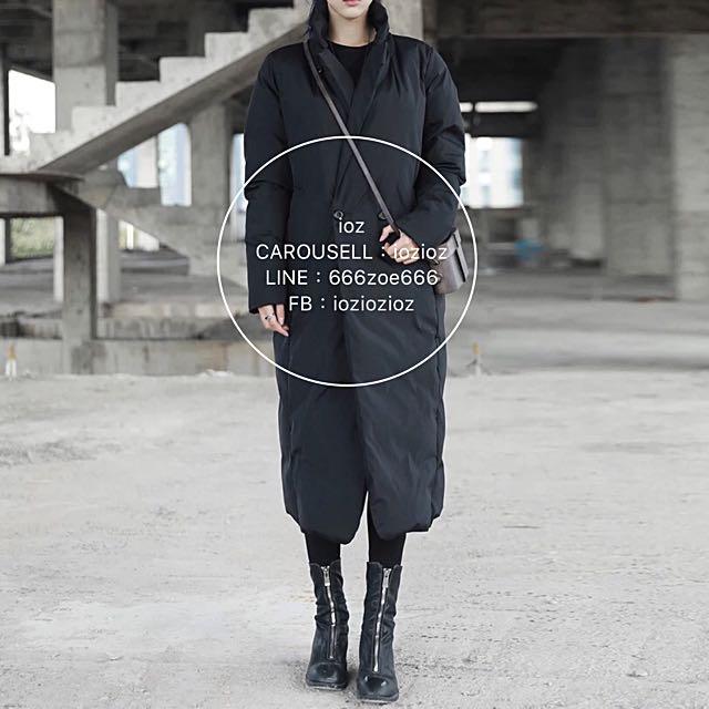 ioz 原創 簡約寬鬆立領鋪棉長大衣外套