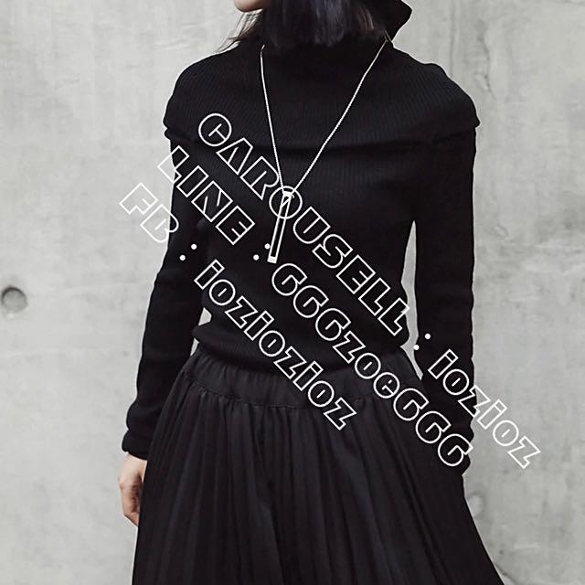 ioz 日本小眾 高領修身黑色針織毛衣 冬C
