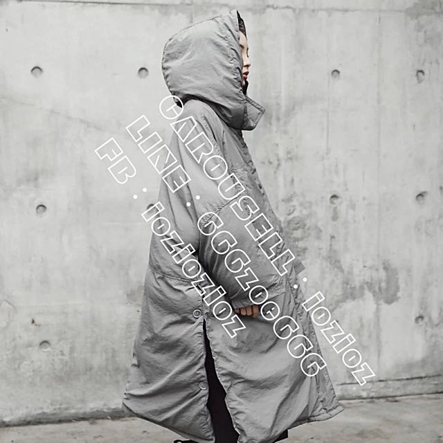 ioz 日本小眾 寬鬆OVERSIZE連帽鋪棉休閒大衣外套
