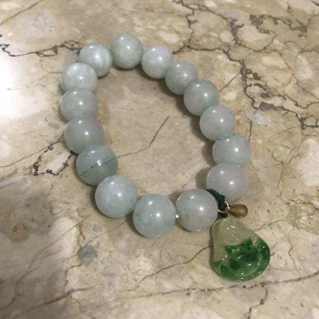 Jade Bracelet with 14K gold charm