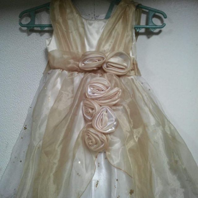 KIDS GOWN OFFWHITE AND GOLD