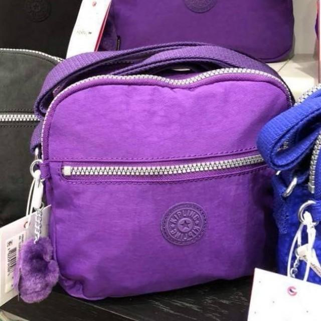 全新Kipling紫色肩斜背包(附購證)