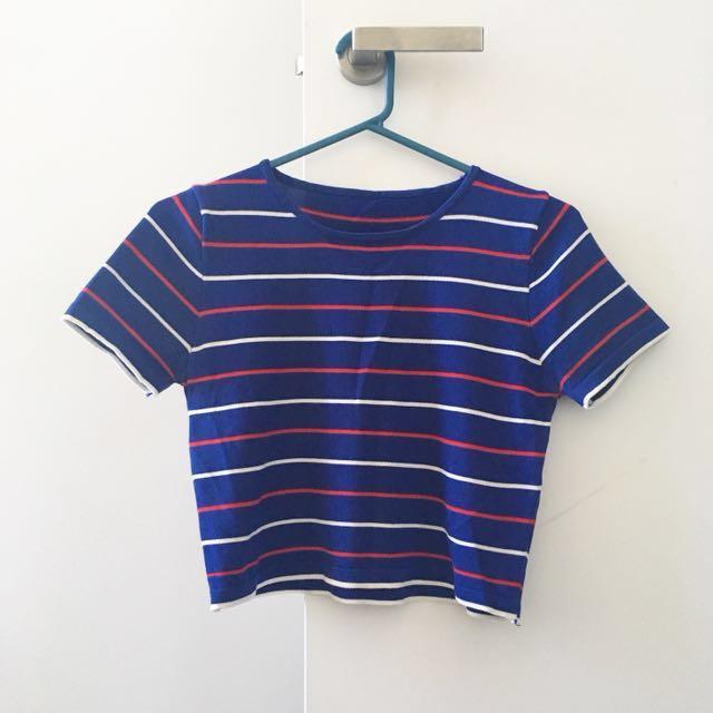 Knit Stripe Sapphire Blue Top
