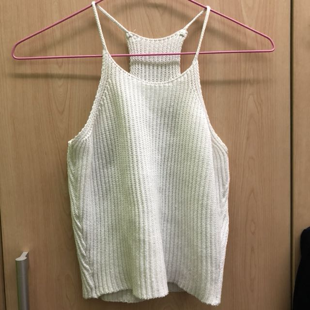 Knitted white crop top