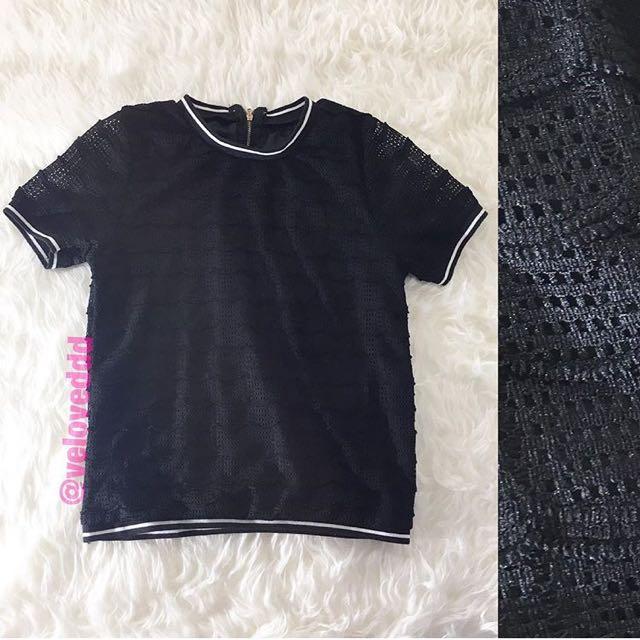 Korean black lace top