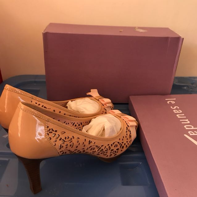 Le Saunda pink high heels pattern size 41 rrp170