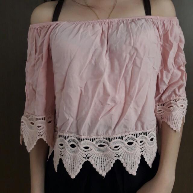light pink boho off shoulder