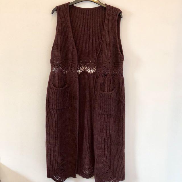 Long Burgundy crochet cardigan free size