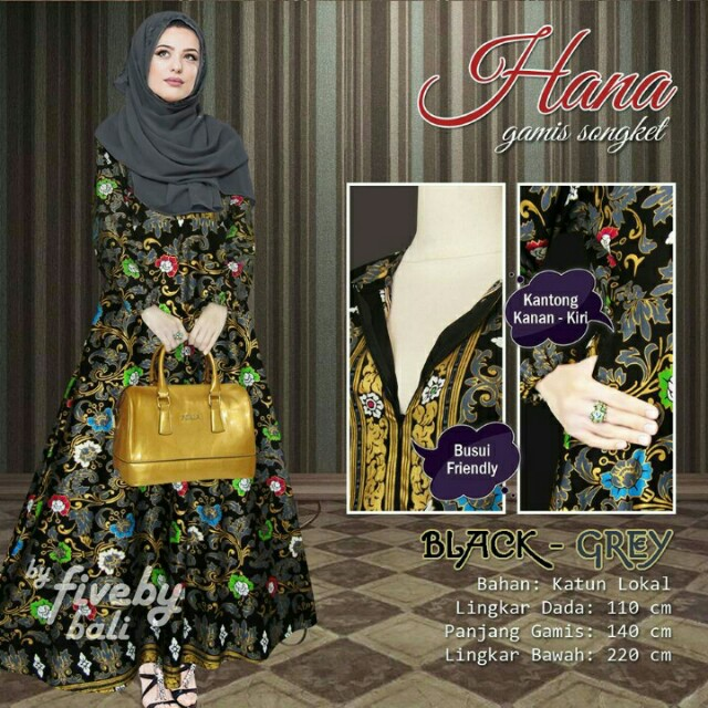 Long dress hana gamis bali songket baju muslim