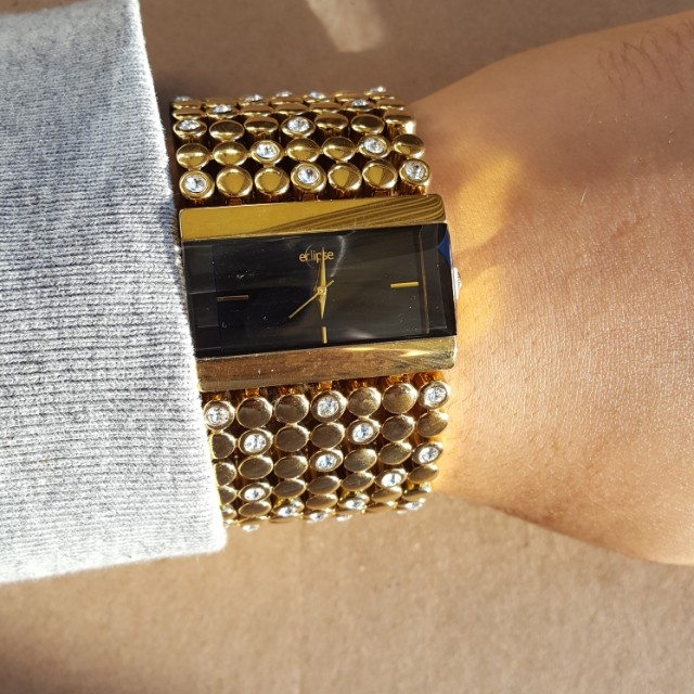 Luxury diamonte embellished gold watch