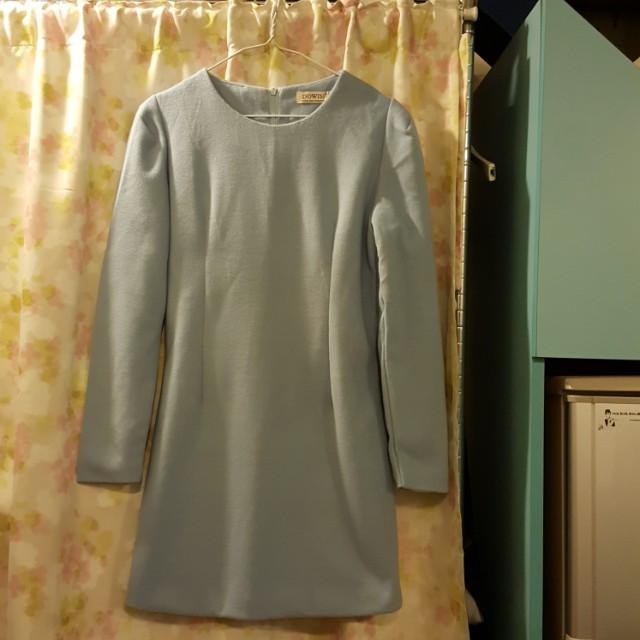 藍色長袖洋裝-M-最後一張圖有試穿照參考