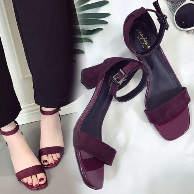 Maroon Strappy Chunky Heel Sandals size 35 and 36