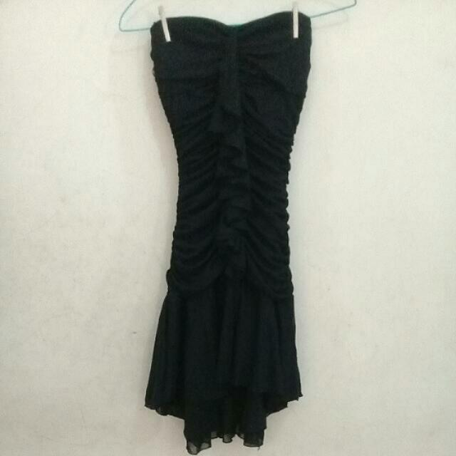 Mermaid Tail Ruffle Black Dress