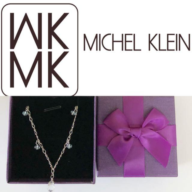 MICHEL KLEIN 藍白水晶純銀項鍊